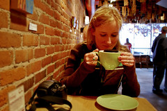 Tamara sipping coffee in bend