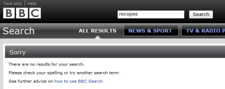 BBC no search results