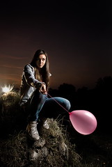 (Csheemoney) Tags: lighting pink sunset cute girl rock hair pretty sitting looking flash balloon posing nike jeans thinking backlit belgrade gaze strobe dunks nemanja strobist pesic nostrobistinfo removedfromstrobistpool seerule2