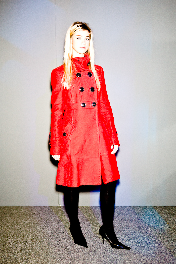 Party Fashion, L'Oreal Fashion Week, Toronto, full length, red coat, black heels, photo by Krist Papas/whatsyourperson.com