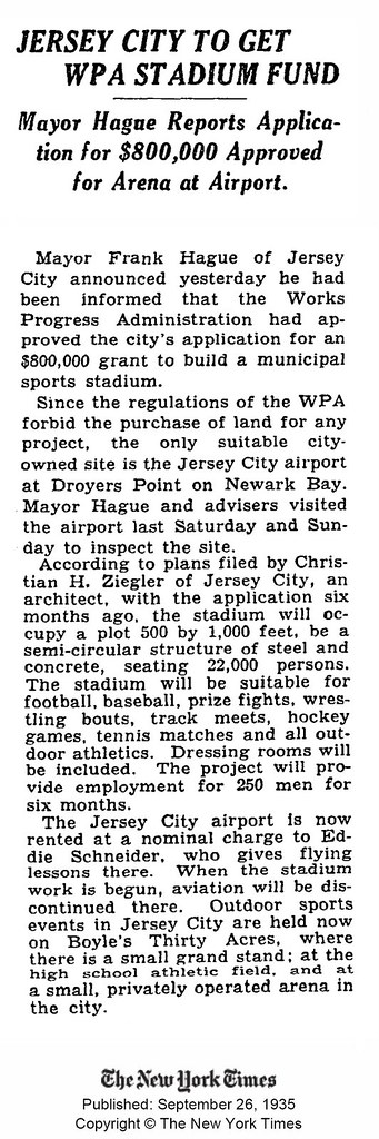 Jersey City to Get WPA Stadium Fund. Mayor Hague Reports Application for $800,000 Approved for Arena at Airport.