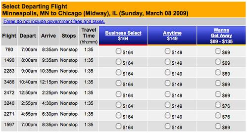 March 8 2009 Southwest Fares