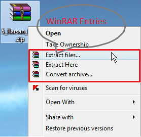 WinRAR entry missing from right click context menu