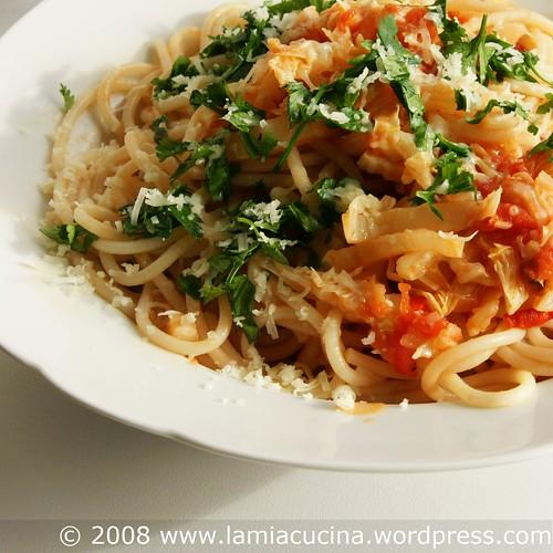 Spaghetti con cavolo cinese