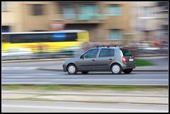 Fast Renault Clio (iamvanja) Tags: architecture canon 350d croatia zagreb panning hrvatska urbanlife renaultclio 1770mm