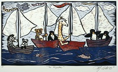 'The Regatta' reduction linocut, by Mariann Johansen-Ellis, on Flickr