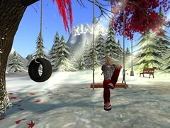 Chillin' at the swing (Avatrian) Tags: winter snow toronto canada playground virtual mapletree presence ngo kinsa nonprofit metaverse insl avatrian insecondlife kidsinternetsafetyalliance