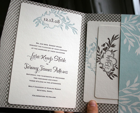 Letterpress wedding invitations - custom pocketfold - Smock