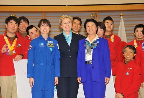 Hillary Clinton with Japanese Astronauts