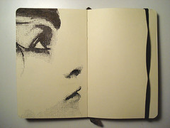 vidi halftone (lizzconley) Tags: portrait art moleskine pen drawing sketchbook explore halftone explored encarneviva