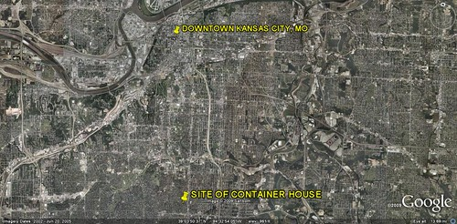 site of Container Home (image by Google Earth, captions by me)