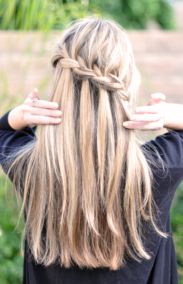 waterfall braid, Partial French Braid Cascade Hair Tutorial -back   , wedding hair, braids, hair tutorials, how to french braid, half french braid, pretty hair styles