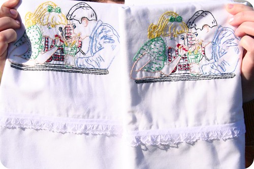 Embroidered 50's Pillowcase Set
