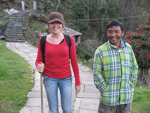 Gela manages a smile after the 11-hour walk from MBC to Chomrong