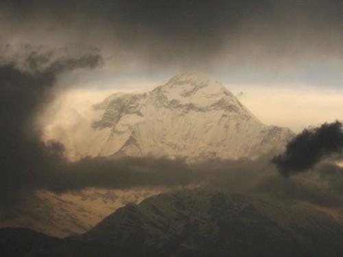 Sneak peak of Dhauligiri at sunset from Ghorepani