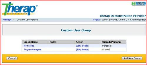 Screenshot of Custom User Group Page