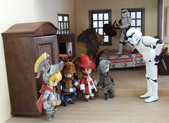 """For the last time - there is no such thing as a magical wardrobe!"" (waihey) Tags: starwars bed stormtroopers lion wardrobe stool aslan chroniclesofnarnia finalfantasytradingarts"