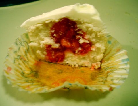 lemon cupcake with strawberry filling