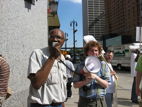 Abayomi Azikiwe and Caleb Maupin in the financial district in downtown Detroit on June 4, 2008. The demonstration called for a moratorium on foreclosures in Michigan. (Photo: Alan Pollock). by Pan-African News Wire File Photos