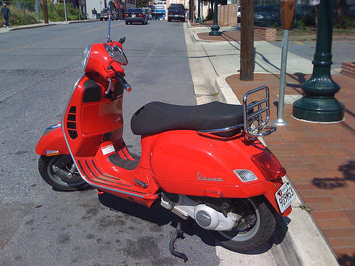Red Vespa scooter in Downtown Silver Spring - Taken With An iPhone