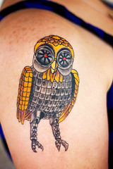 Bubo (Heather Leah Kennedy) Tags: tattoo mechanical janice owl bubo clashofthetitans jonmirro handofdoomtattoo