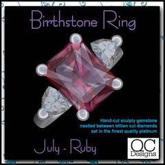 ::::QC Designs:::: Birthstone Ring - Ruby/Platinum