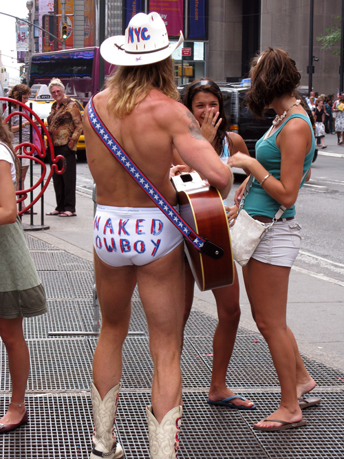 naked cowboy in Times Square, Manhattan, NYC