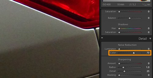 Color noise after chroma noise reduction in Adobe Lightroom