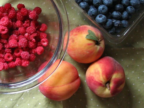 Ingredients for a Wineberry Crisp