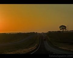 on the road... (.Tatiana.) Tags: road sunset pordosol truck way highway estrada naestrada ways silhueta dedentrodocarro caminhões 10faves commarcusemami indoparapenápolis