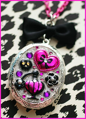 Love Stinks (stOOpidgErL) Tags: pink black cute love glitter silver skull diy necklace bottle perfume heart handmade craft jewelry plastic bow kawaii resin pendant locket stoopidgerl
