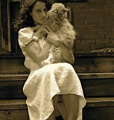 Georgia with Ginger II (georgia.g) Tags: wood brick girl sepia cat linen textures
