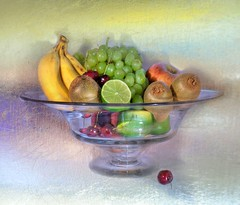 Fruit Dish in Pastels (melepix) Tags: november art texture apple fruit cherry dish banana grapes getty lime kiwi overthemoon infinestyle brillianteyejewel atqueartificia stillbowl