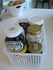 After: Pantry basket of toast spreads