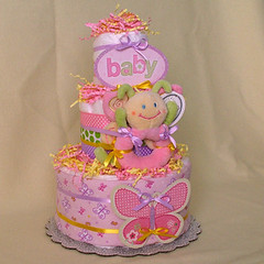 BUTTERFLY DIAPER CAKE! side view