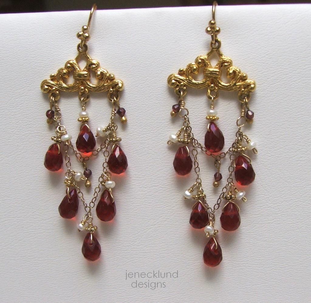 Red Royalty Garnet Chandelier Earrings