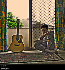 Untitled... (Kyaw Photography) Tags: selfportrait art me photoshop canon myself eos rebel guitar hdr untitled xsi photomatix 450d thatsclassy