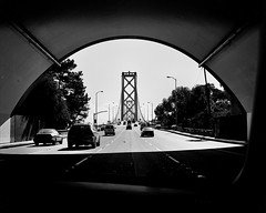 Bay Bridge SF Ca (J-diggity-dogg) Tags: sf bridge bw mamiya 666 bridges rangefinder tunnel baybridge sanfranciscobayarea noodles travisbickle tunnels 777 415 upperdeck johnnyboy mamiya7 shutyourpiehole thesco thebaybridge upperbridge frankhill excusemebitch palinisstalin bridgesofalamedacounty yeareofyourfatherthedevilandthelustsofyourfatheryeshallbe therepublicanpartywantstoturntheunitedstatesintoburma thechristianreich thechristianrightisneither religionisblasphemy maxcaty