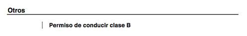 Permiso de conducir B añadido a mi currículo
