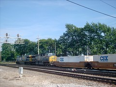 Eastbound CSX intermodal transfer train. Hayford Junction. Chicago Illinois. July 2007.