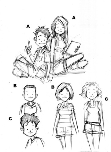 The Learning Boutique mascots pencil sketches