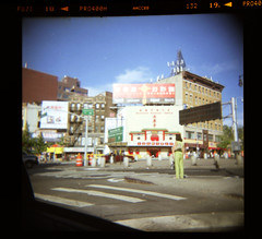 Chinatown NYC (Arthur Loveday) Tags: street camera new york nyc newyorkcity newyork streets color colour 120 film analog square toy photography arthur holga lomo lomography chinatown fuji manhattan district candid taxi chinese plastic negative 400 area shops pro medium format daytime cheap 20 loveday gcfn glasslens arthurloveday