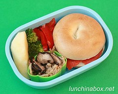 Lox & cheese mini bagel lunch for preschooler