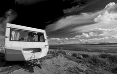 Room with a View, King of the Road, Elvis (chrisps) Tags: city sea sky blackandwhite dublin abandoned beach monochrome clouds nikon bravo europe brokenglass trailer caravan derelict kingoftheroad dumped d700 trailerforsaleorrent nikkor142428 roomstolet50c elvisliveshere