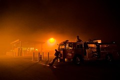 Firefighters keeping watch (Eric Wolfe) Tags: california red orange usa glow unitedstates smoke eerie firetruck fireengine orangecounty fires deserted firefighters wildfire yorbalinda striketeam lacfd freewaycomplexfire trianglecomplexfire original:filename=20081116079jpg