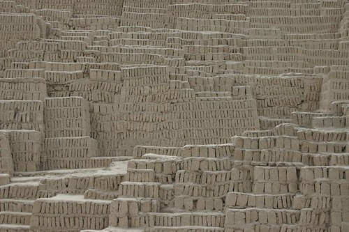 Huaca Pucllana - an adobe pyramidal structure from AD400 in central Miraflores, Lima...