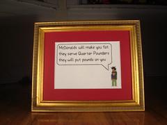 McDonalds will make you fat (benjibot) Tags: music chicago lyrics crossstitch crafts mcdonalds wesleywillis