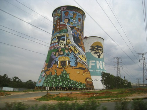The story of Soweto's people is painted on one of the two iconic cooling towers.