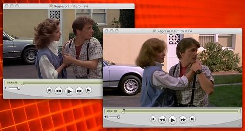 Fotogramas con la misma escena en Regreso al futuro 1 y 2 con distinta actriz en el papel de la novia de Marty