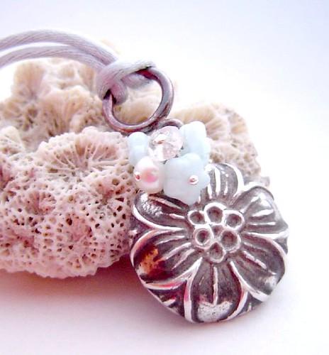 oxidised fine silve pendant